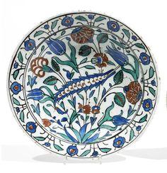 An Iznik Pottery Dish with Tulip and Peony Design, Circa 1575 Reproduction photo