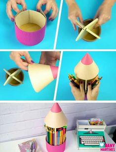 20 Amazing Craft activities With DIY Supplies Kids Crafts, Diy Crafts Hacks, Craft Stick Crafts, Diys, Diy And Crafts, Cardboard Box Crafts, Paper Crafts, Pencil Organizer, Recycled Crafts