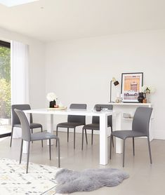 Shop the Fern white gloss dining table for total styling flexibility. Stick to monochrome accessories for a simple, modern look, or pair with vibrant and fun dining chairs to really show off your personality. Formal Dining Set, Informal Dining Rooms, Casual Dining Rooms, Dining Room Colors, Dining Room Sets, 6 Seater Dining Table, Dining Chairs, White Gloss Dining Table, Monochrome Interior
