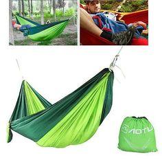 hammock swing bed portable parachute nylon fabric blackish green    read more reviews of the rest point double hammock premium set double parachute nylon      rh   pinterest