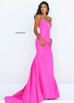 626ed2cea8 Hot Pink Fitted Long Satin Sherri Hill 50331 Evening Gown with Tail  Sherri  Hill 50331  –  175.00   2016 Sherri Hill Prom Dresses Cheap Sale online.