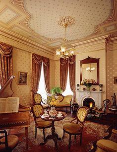 The Music Room features Neo-Classical wallpaper by Bradbury & Bradbury