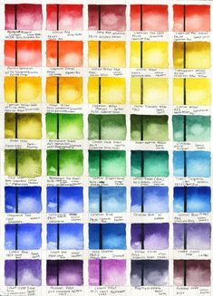 I made a bunch of color swatches of all the watercolor paint I have for reference. I used to hate doing swatches at school but this was fun....