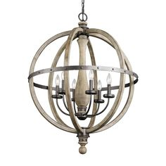Kichler Lighting Evan 28.5-in 6-Light Distressed Antique Gray Rustic Globe Chandelier