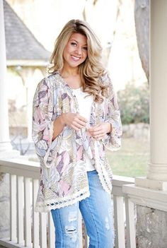 Floral Kimono with Lace Trim from NoVaeClothing.com