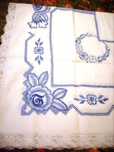 Vintage Embroidered Tablecloth Set Blue White by stbthreadworks, $95.00