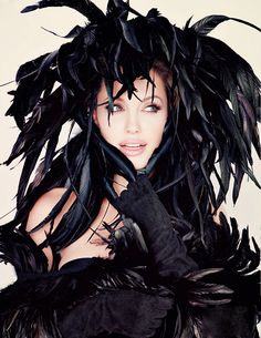 Angelina Jolie.... in black feathers.