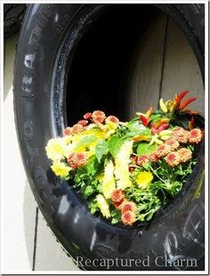 If you have old car tires hanging around in the garage put them to work growing vegetables. Remove the center hub and just use the rubber tire itself. The tires make handy plant containers and are easy to place out in the garden. Use a single tire. Tire Planters, Flower Planters, Garden Planters, Container Plants, Container Gardening, Painted Tires, Tire Garden, Outdoor Projects, Outdoor Ideas