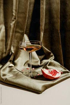 Champagne with pomegranate by Tatjana Zlatkovic - Champagne, Pomegranate - Stocksy United Object Photography, Still Life Photography, Creative Photography, Food Photography, Fashion Photography, Martha Sanchez, Don Papa, Kreative Portraits, Photo Food