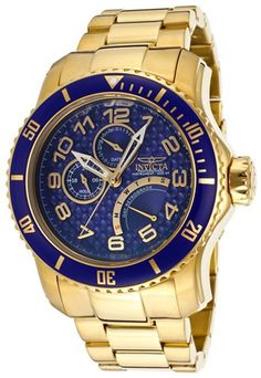 Invicta Men's Pro Diver Blue Textured Dial 18K Gold Plated Stainless Steel