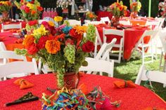 Tables at a Mexican Fiesta Bridal Shower #mexicanfiesta #bridalshower