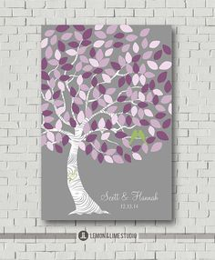 Wedding Guest Book Signature Tree Wedding por MarshmallowInkLLC