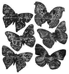 Black Lace Butterflies Decoupage Mobiles Black by memoriesemporium, $3.99