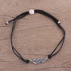 Black Leaves in Winter Artisan Leaf Theme Black Cord Bracelet with Sterling Silver