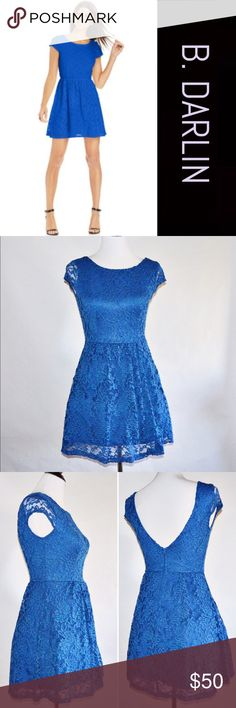 """B. DARLIN Royal Blue Dress B. DARLIN Royal Blue Dress 90% Polyester / 10% Spandex Lining: 100% Polyester  EUC. Worn once to my sister's baby shower. Absolutely beautiful and an amazing color! Does have a little stretch to it. Paid $119 for it.   Measurements Size 5/6-Chest:16"""" across / 32"""" around, Waist:13"""" across / 26"""" around, Length:31""""  🔆Bundle for 10% Off B. Darlin Dresses"""