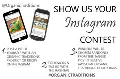 Organic Traditions Thanksgiving Instagram Contest. Win an awesome Organic Traditions goody bag!!   See image for contest details.