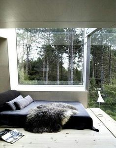 variety of textures, trees in back ground, fur blanket, and the flooring