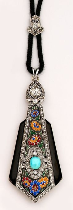 Art Deco Jewelry  Exceptional multi-colored enamel, turquoise, diamond and platinum lorgnette. Boucheron, Paris.