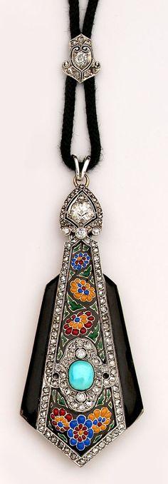 Art Deco Jewelry Exceptional multi-colored enamel, turquoise, diamond and platinum lorgnette. Boucheron, Paris.