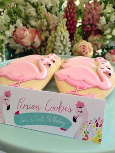 Flamingo First Birthday Party Cookies
