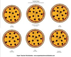 Print and cut out the manipulative fraction pizzas to make your lesson on fractions more fun! Fractions Worksheets, Math Fractions, Preschool Worksheets, Preschool Curriculum, Homeschool Math, 3rd Grade Fractions, 3rd Grade Math, Kindergarten Math, Math Classroom