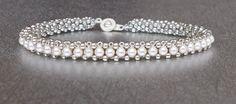 beadwork bracelet sterling silver and pearl van beadnurse op Etsy, $50.00