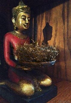 Buddha from @ZGallerie holding a plastic bird's nest found fallen on our driveway, now painted gold