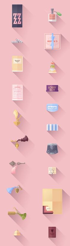 "Flat illustratons as a tribute to Wes Anderson's ""The Grand Budapest Hotel"". Lorena G is a Barcelona based art director, illustrator, and graphic designer"