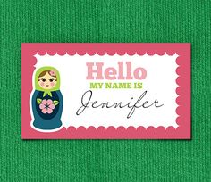 """These printable matryoshka calling cards (3"""" x 2.5"""") can be printed on business card paper (Avery compatible #8371 or #8871), heavyweight card stock or full-sheet adhesive paper for a variety of uses. They make cute name tags or place cards for a child's party, too. Fully color-customizable and personalizable! From saltandpaper.com."""
