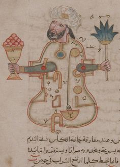 "The Metropolitan Museum of Art,  ""Figure for Use at Drinking Parties"", Folio from a Book of the Knowledge of Ingenious Mechanical Devices by al-Jazari. Probably Syrian, dated A.D. 1315."