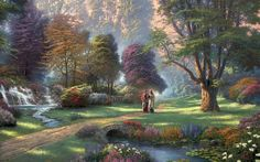 Thomas Kinkade Walk of Faith painting is shipped worldwide,including stretched canvas and framed art.This Thomas Kinkade Walk of Faith painting is available at custom size. Thomas Kinkade Disney, Thomas Kinkade Art, Belle Image Nature, 2560x1440 Wallpaper, Kinkade Paintings, Oil Paintings, Landscape Paintings, Thomas Kincaid, Tres Belle Photo