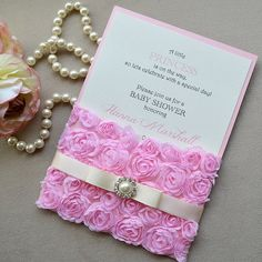 Pink Rosette Baby Shower Invitation  Pink by PaperLaceBoutique
