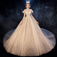 Vintage / Retro Champagne See-through Wedding Dresses 2020 Ball Gown High Neck Short Sleeve Backless Sequins Beading Glitter Tulle Ruffle Cathedral Train Rosa Clara Wedding Dresses, Evening Dresses For Weddings, Green Wedding Dresses, Tea Length Wedding Dress, Wedding Dress Sleeves, Bridal Dresses, Wedding Gowns, Bridesmaid Dresses, Prom Dresses