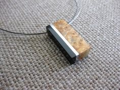 exotic wood pendant | Exotic burl wood, buffalo horn and aluminum necklace, abstract pendant ...
