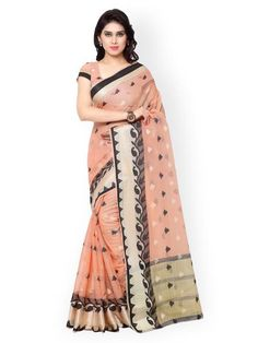 47bc3694be Shop now the latest sarees on ladyindia.com Peach Colour Chanderi Silk  Cotton Saree https