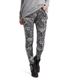 Loving this Black & White Abstract Leggings - Plus on #zulily! #zulilyfinds