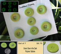 Green Glow in the Dark Polymer Clay Buttons (Set of 7)
