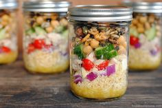 Chopped Salad Jars with White Balsamic-Dijon Vinaigrette - make 4 healthy and delicious lunches at once, and keep them in the fridge all week!