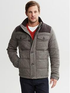 Quilted tweed puffer jacket   Banana Republic