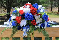 Patriotic Cemetery Flower Saddle Artificial Cemetery Flowers