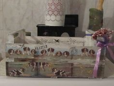 cassetta legno ortofrutta (adoro)  decoupage con carta di riso stencil e timbri vari