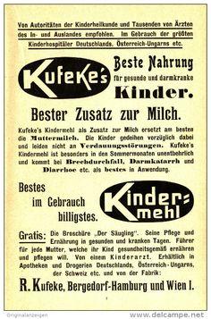Original-Werbung/Inserat/ Anzeige 1903 - KUFEKE'S KINDERMEHL / BERGEDORF UND WIEN -  ca.180 x 120 mm