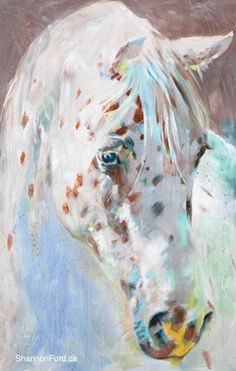 Gentle Appaloosa Inspired by Rocco a red leopard Appaloosa Liberty horse of the MacDonald herd near Okotoks Alberta, 48 X 30 Acrylic on Canvas Available through Gainsborough Galleries CALGARY, ALBERTA