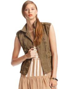 Bar III Sleeveless Utility Pocket Vest, from Macy's