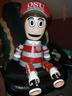 Brutus, the Ohio State mascot, flower pot I made for a customer 9/2/13.