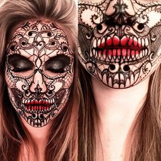 "6,479 Likes, 184 Comments - ________VANESSA DAVIS________ (@the_wigs_and_makeup_manager) on Instagram: ""Lace Skull  One of my best friends Ali @amcreative_  suggested this! I did this makeup using my…"""