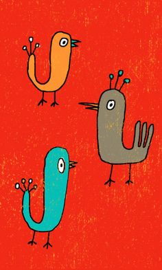 Loving these sweet and colorful birdies!!! Kellie Bloxsom-Rys - Art and Illustration