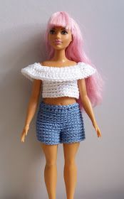 Linmary Knits: Curvy Barbie crochet shorts and top