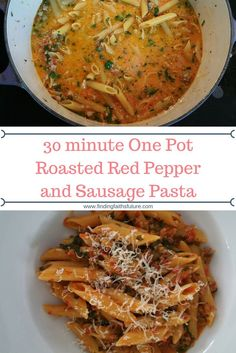 30 minutes. One pot. 7 ingredients. This Roasted Red Pepper and Sausage Pasta is just as easy as it is delicious!