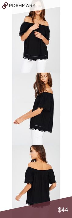 🆕 Paula Pom Pom Off The Shoulder Top - Black Who doesn't love a good pom pom detail? Snag the Paula Pom Pom Off The Shoulder Top for your Spring or vacation wardrobe.   ALSO AVAILABLE IN IVORY  95% RAYON, 5% SPANDEX likeNarly Tops